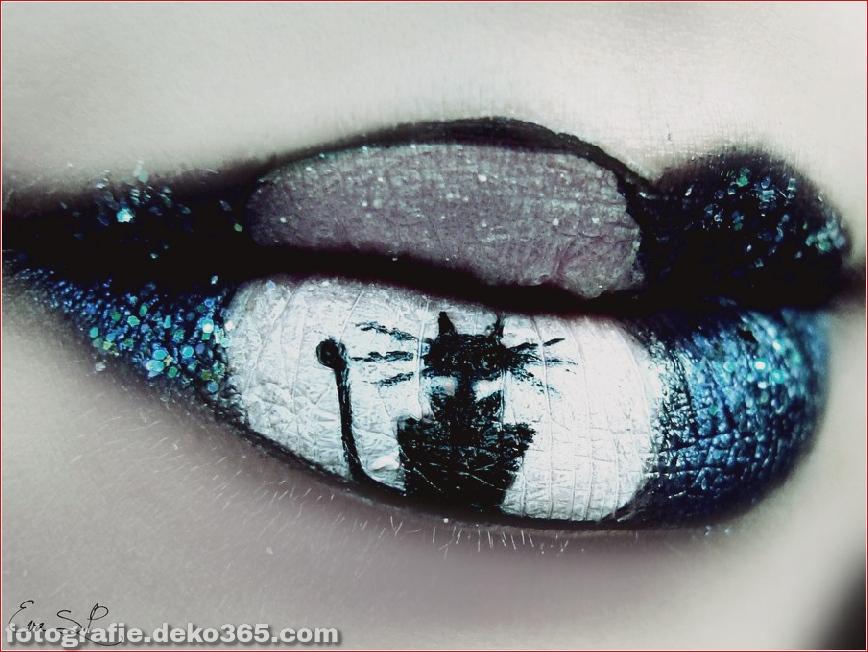 Beautiful art under the moonlight in lips