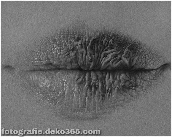 Surreale Bleistiftzeichnungen der Lippen (4)