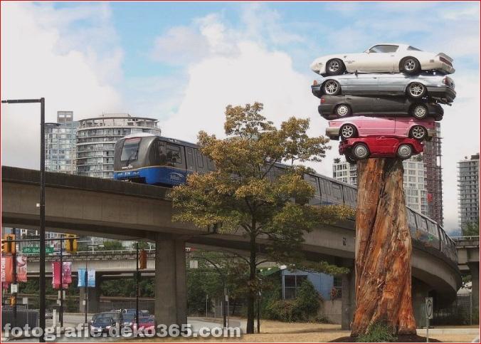 Die Kunst des Stapelns von Autos (2)