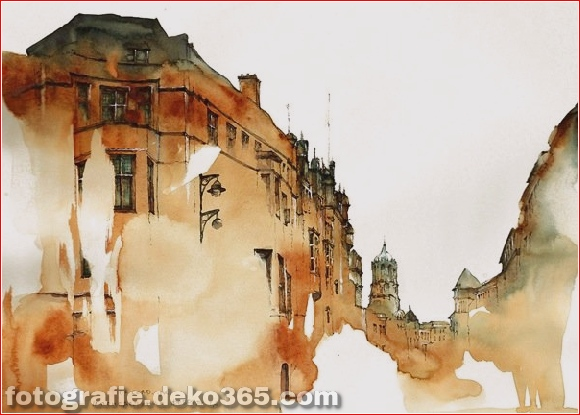 Tuschezeichnungen berühmter europäischer Städte (1)