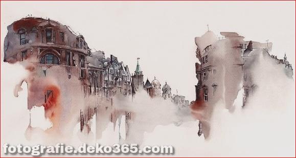 Tuschezeichnungen berühmter europäischer Städte (11)